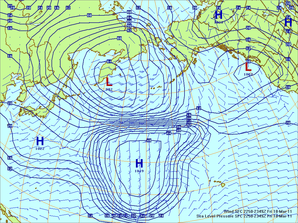 North­ern Pacific surface pres­sure and winds, 18 Mar 2011, 1450Z