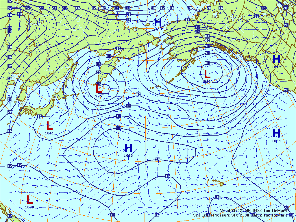 North­ern Pacific surface pres­sure and winds, 14 Mar 2011, 2350Z