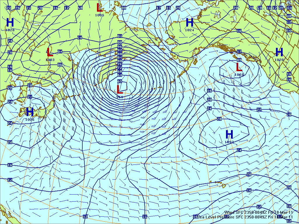 North­ern Pacific surface pres­sure and winds, 17 Mar 2011, 2350Z